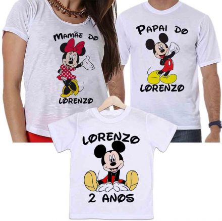 Camisetas Tal Pai, Tal Mãe e Tal Filho Aniversário Personalizada Mickey e Minnie