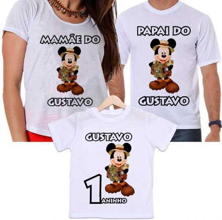 Camisetas Tal Pai, Tal Mãe e Tal Filho Aniversário Personalizada Mickey Safari