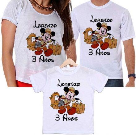 Camisetas Tal Pai, Tal Mãe e Tal Filho Aniversário Personalizada Mickey Safari Animais
