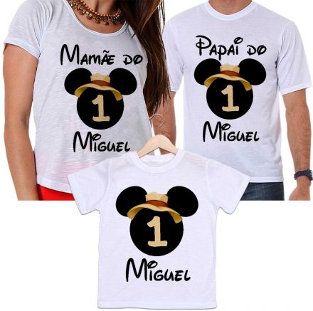 Camisetas Tal Pai, Tal Mãe e Tal Filho Aniversário Personalizada Mickey Safari Aventura