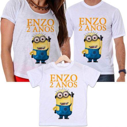 Camisetas Tal Pai, Tal Mãe e Tal Filho Aniversário Personalizada Minions