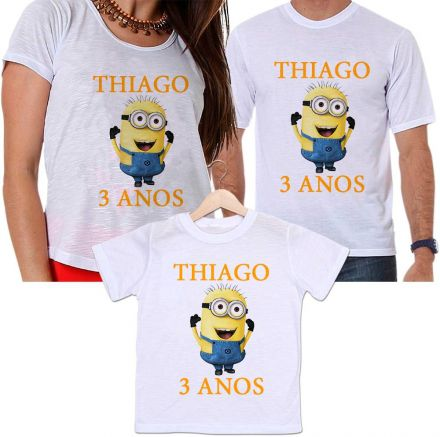 Camisetas Tal Pai, Tal Mãe e Tal Filho Aniversário Personalizada Minions Divertida