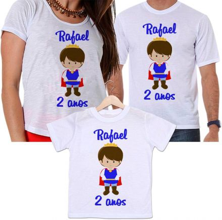 Camisetas Tal Pai, Tal Mãe e Tal Filho Aniversário Personalizada Príncipe