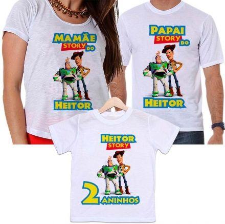 Camisetas Tal Pai, Tal Mãe e Tal Filho Aniversário Personalizada Toy Story