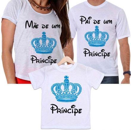 Camisetas Tal Pai, Tal Mãe e Tal Filho Coroa Azul - Mamãe e Papai de Um Príncipe