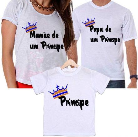Camisetas Tal Pai, Tal Mãe e Tal Filho Coroa Dourada Mamãe e Papai de Um Príncipe