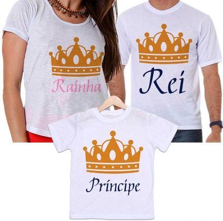 Camisetas Tal Pai, Tal Mãe e Tal Filho Coroa Dourada Rei, Rainha e Príncipe