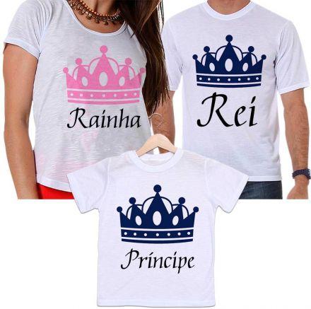 Camisetas Tal Pai, Tal Mãe e Tal Filho Coroa Dourada Rei, Rainha e Príncipe Família