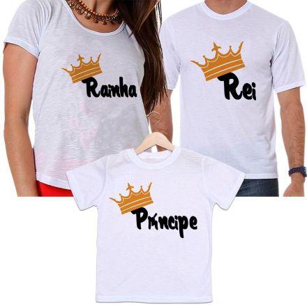 Camisetas Tal Pai, Tal Mãe e Tal Filho Coroa Rei, Rainha e Príncipe