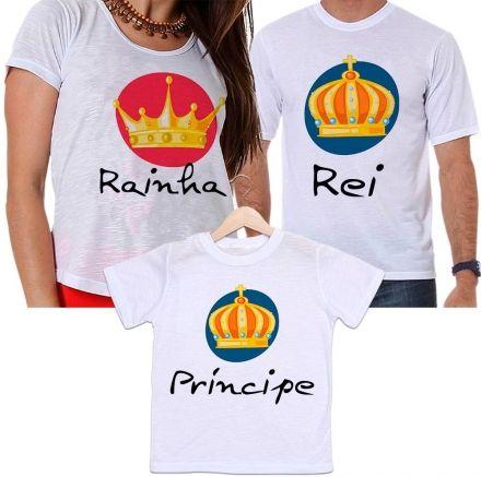 Camisetas Tal Pai, Tal Mãe e Tal Filho Coroa Rei, Rainha e Príncipe Família