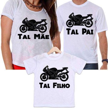 Camisetas Tal Pai, Tal Mãe e Tal Filho Moto