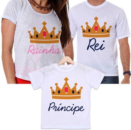 Camisetas Tal Pai, Tal Mãe e Tal Filho Rei, Rainha e Príncipe Família