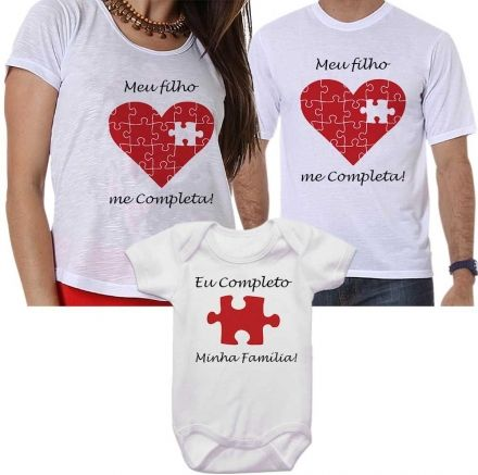 Camisetas Tal Pai Tal Mãe Tal Filho Meu Filho Me Completa Coração Quebra Cabeça