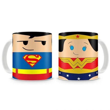 Canecas Super Homem e Mulher Maravilha