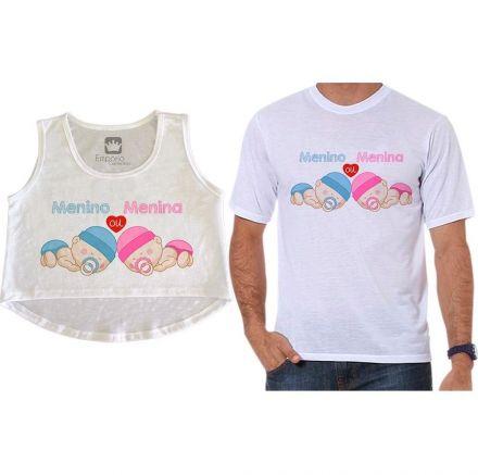 Cropped e Camiseta Chá Revelação Menino ou Menina Anjinhos