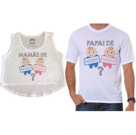 Cropped e Camiseta Chá Revelação Menino ou Menina Bebê