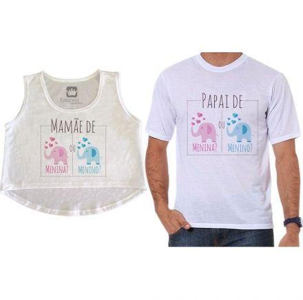 Cropped e Camiseta Chá Revelação Menino ou Menina Elefante Corações
