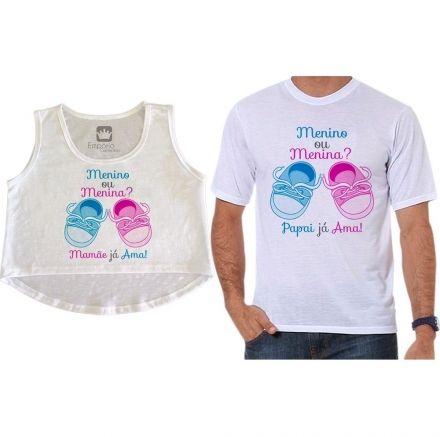 Cropped e Camiseta Chá Revelação Menino ou Menina Sapatinhos de Bebê