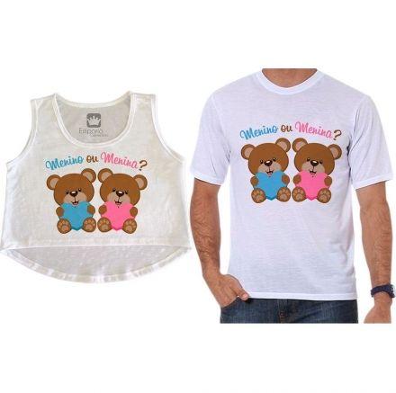 Cropped e Camiseta Chá Revelação Menino ou Menina Ursinhos