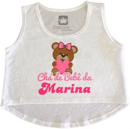 Cropped Gestante Personalizado Chá de Bebê Ursinho Menina