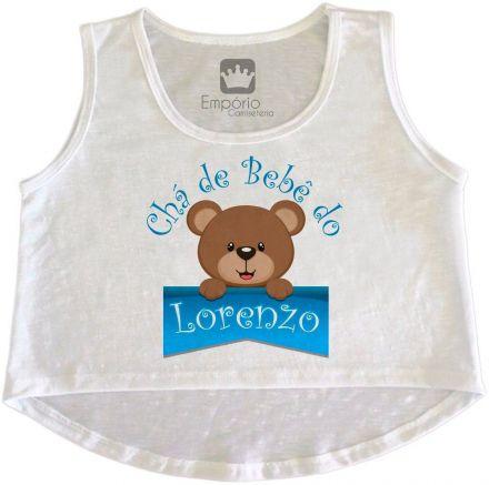 Cropped Gestante Personalizado Chá de Bebê Ursinho Menino