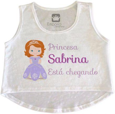 Cropped Gestante Personalizado Princesa Sofia Está Chegando
