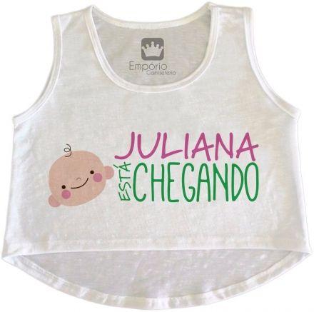 Cropped Gestante Personalizado Tem Bebê Chegando Menina