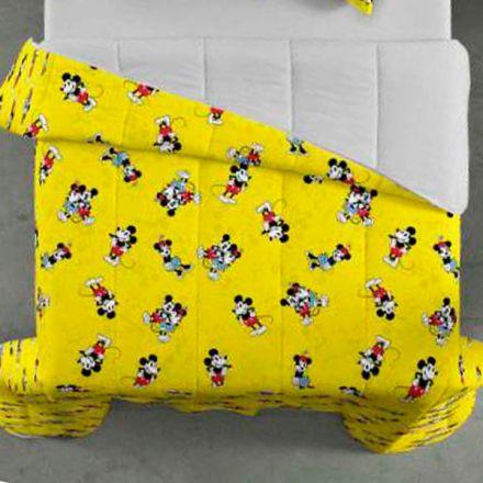 Edredom Casal Dupla Face Mickey Amarelo - 1 Peça