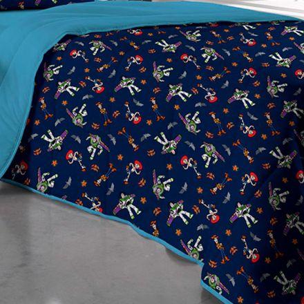 Edredom Solteiro Dupla Face Azul Toy Story Buzz Lightyear e Jessie - 1 Peça