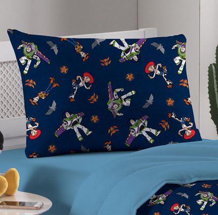 Fronha Avulsa Azul Toy Story Buzz Lightyear e Jessie