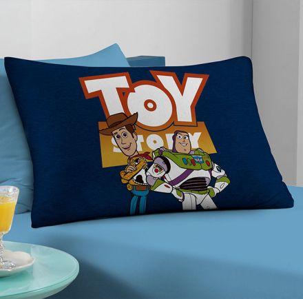 Fronha Avulsa Azul Toy Story Xerife Woody e Buzz Lightyear