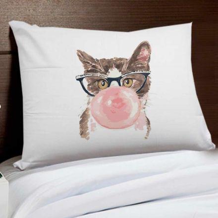 Fronha Gato de Óculos Mascando Chiclete