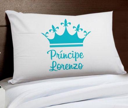 Fronha Personalizada Príncipe Coroa Azul Com Nome