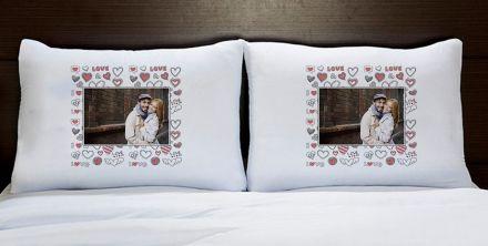 Fronhas Casal Personalizadas Com Foto Coração