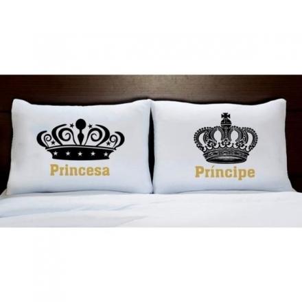 Fronhas Casal Personalizadas Coroa Preta Príncipe e Princesa