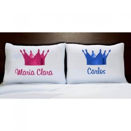 Fronhas Casal Personalizadas Coroa Rosa e Azul Com Nomes