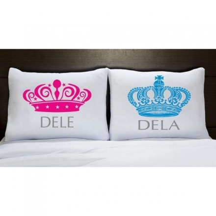 Fronhas Casal Personalizadas Coroa Rosa e Azul Dele e Dela