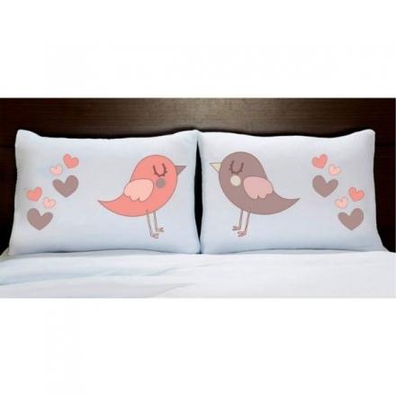 Fronhas Casal Personalizadas Pássaros com Corações