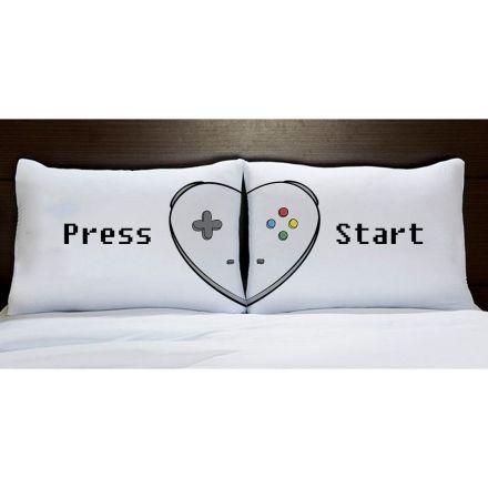 Fronhas Coração Controle Vídeo Game Press Start