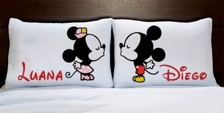 Fronhas Mickey e Minnie Apaixonados Com Nome