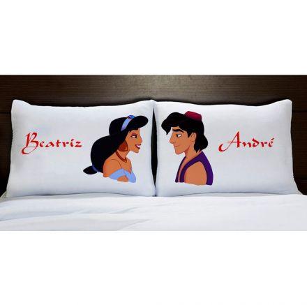 Fronhas Personalizadas Aladdin e Jasmine