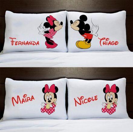 Fronhas Personalizadas Casal Mickey e Minnie Com Filhas