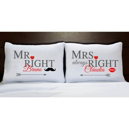 Fronhas Personalizadas Casal Mr e Mrs Right