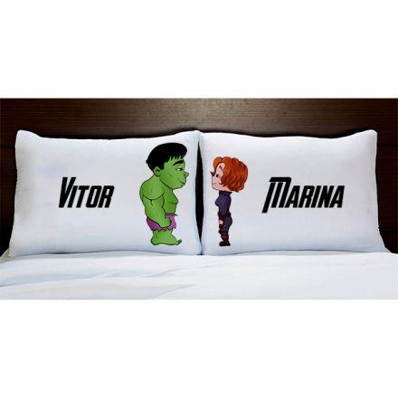 Fronhas Personalizadas Hulk e Viúva Negra