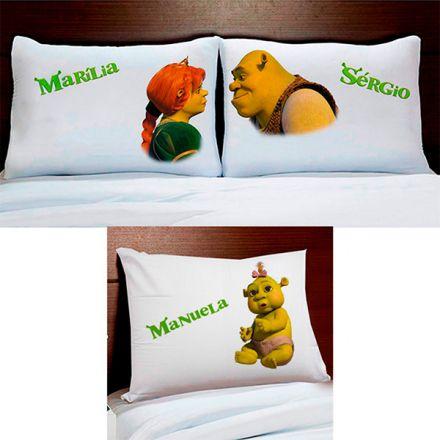 Fronhas Personalizadas Shrek Fiona e Filha