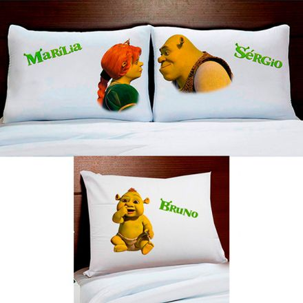 Fronhas Personalizadas Shrek Fiona e Filho