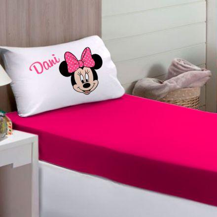Jogo de Cama Solteiro Personalizado Minnie 2 Peças FR0225