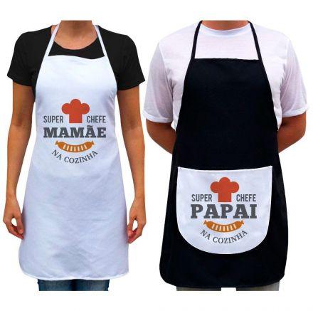 Kit Avental Super Chefe Papai E Mamãe Na Cozinha
