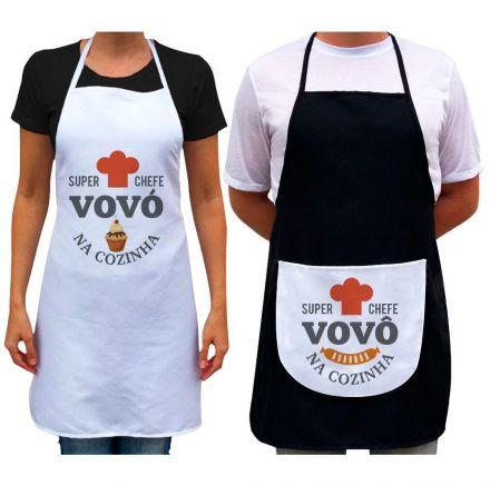 Kit Avental Super Chefe Vovó E Vovô Na Cozinha