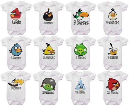 Kit Body Mesversario Angry Birds Personalizado